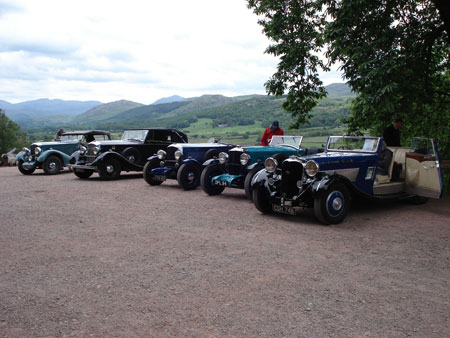A line up of members cars in the Lake District
